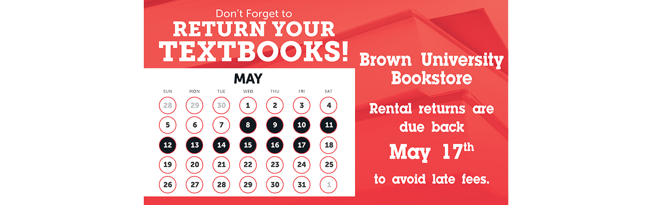 Textbook Rental Returns Due May 17th