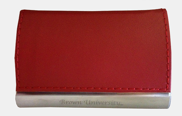 Image For Business Card Case - Red Leather Flip-top
