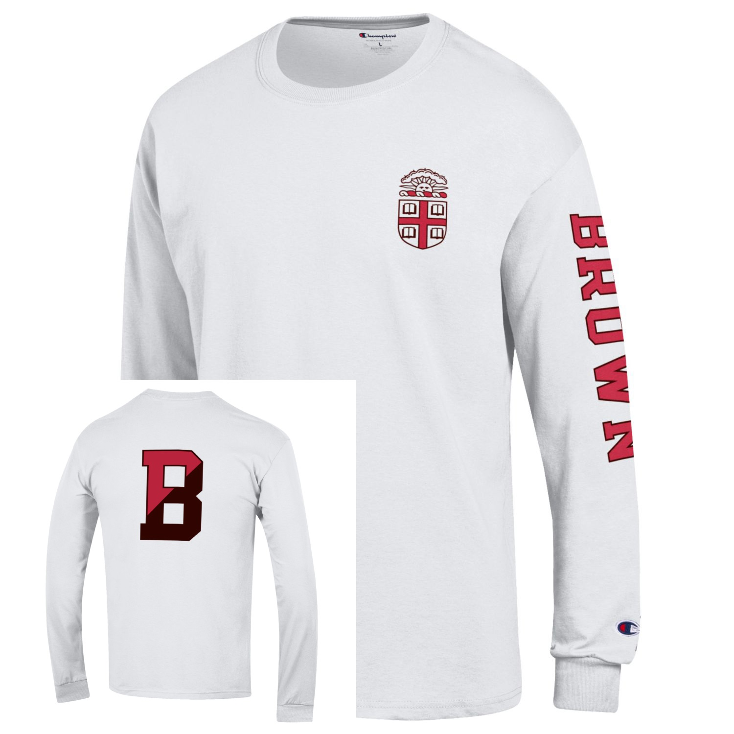 Image For Champion Jersey Long Sleeve White Tee