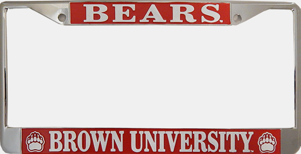 Image For License Plate Frame - Chrome & Red Bears