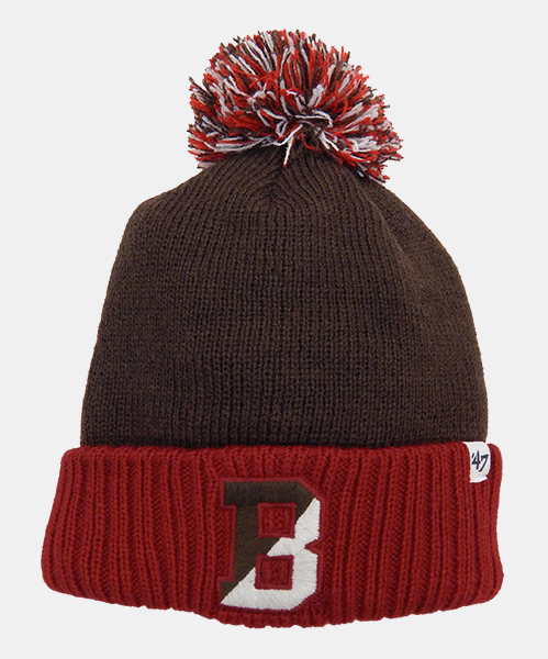 Image For YH - 47 Brand Youth Brown & Cardinal Knit Cap w/Pom