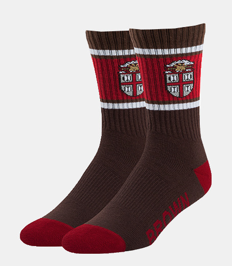 Image For 47 Brand Brown & Cardinal Crest Socks-Size L(M 9-13)