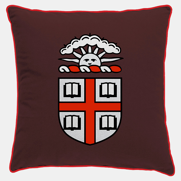 Image For Brown Crest Pillow with Grey Back Panel