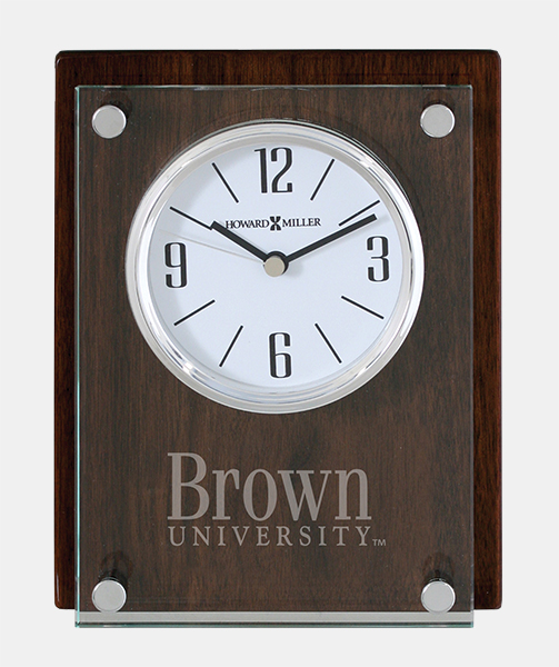 Image For Clock - Walnut Clock with Glass Panel