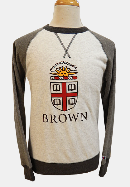 Image For Champion Grey-on-Grey Crest Crew Sweatshirt - $47.99