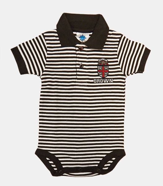 Image For INF - CK Infant Brown & White Striped Collared Onesie-$24.99