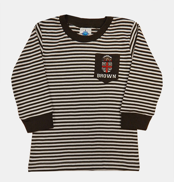 Image For TOD - CK Toddler Brown & White Striped Long-Sleeve Tee