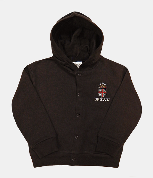 Image For TOD - CK Toddler Brown Crest Snap Hooded Sweatshirt - $27.99