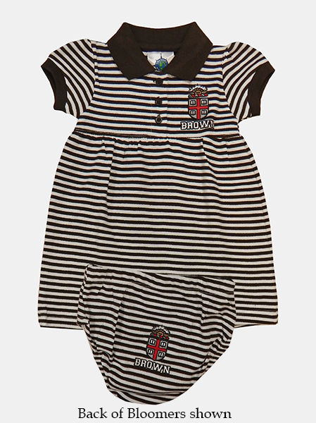 Image For INF - CK Infant Brown & White Striped Dress w/Bloomers