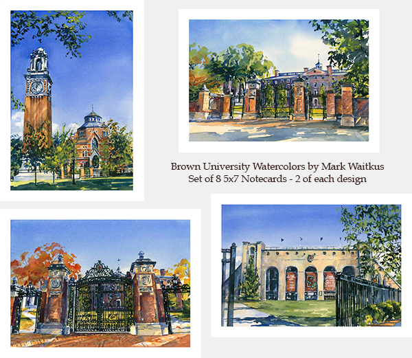 Cover Image For 1 - Notecards - Brown University Watercolors by Mark Waitkus
