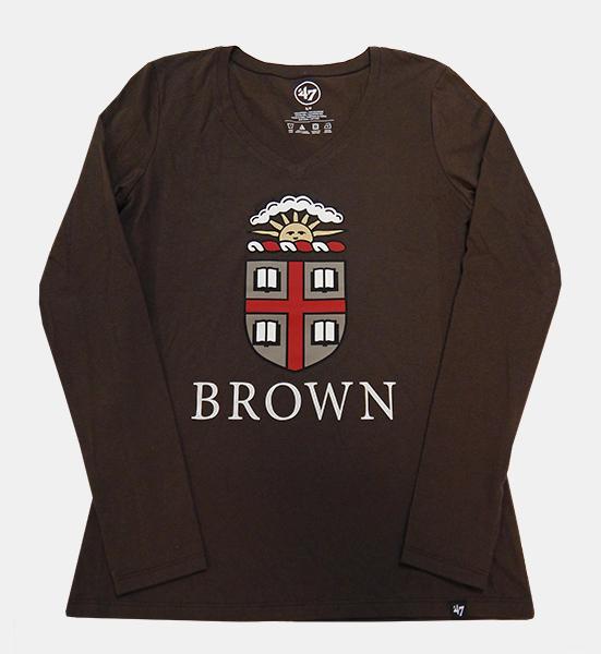 ed7d82d5 47 Brand Brown Crest V-Neck Long-Sleeve Women's Tee - $34.99