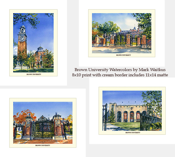 Image For 1 - Prints - Brown University Watercolors by Mark Waitkus