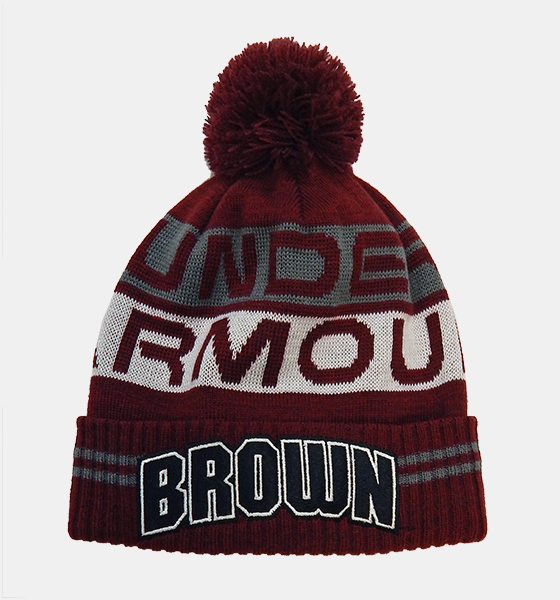 Image For YH - Under Armour Youth Maroon, Grey & White Knit Pom Hat