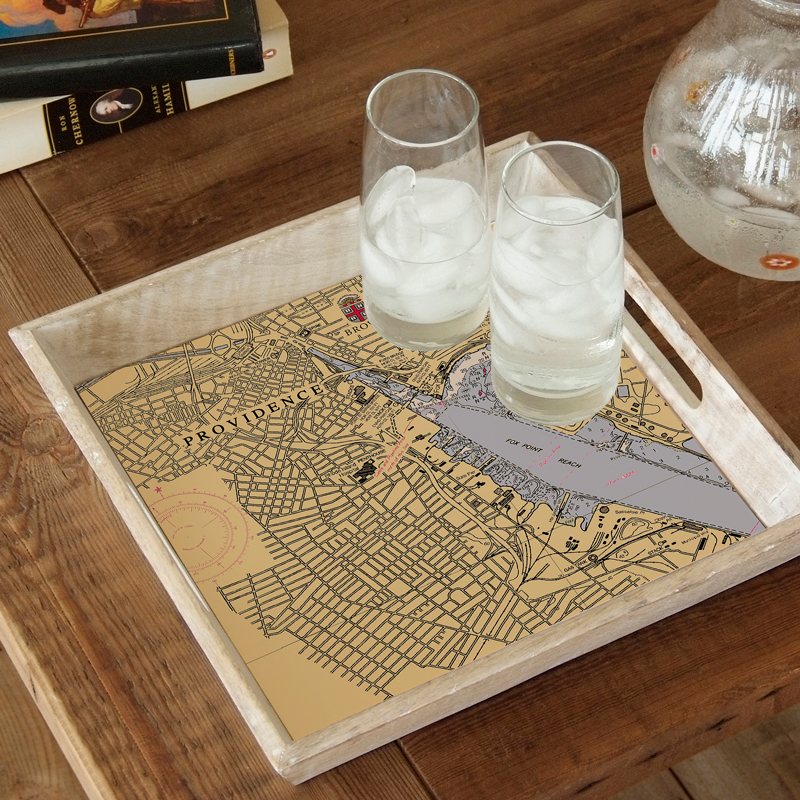 Image For Rustic Wood Tray with Map of Providence