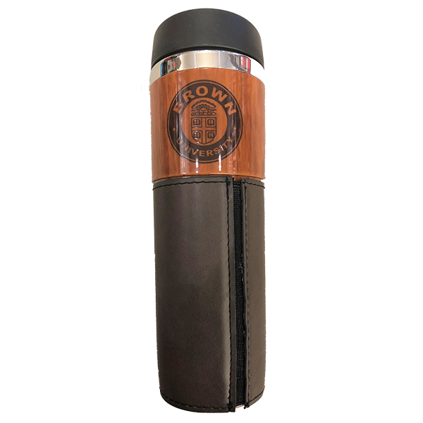 Image For Alta Woodgrain Travel Tumbler with Leather Wrap