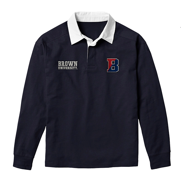 Image For League Jack Collared Long Sleeve Rugby Tee - Navy