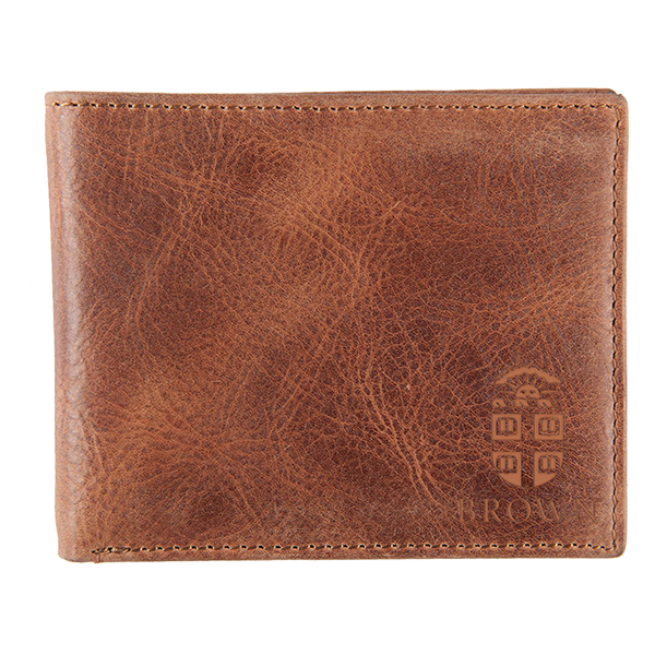 Image For Leather Bifold Wallet w/Embossed Crest - Tan