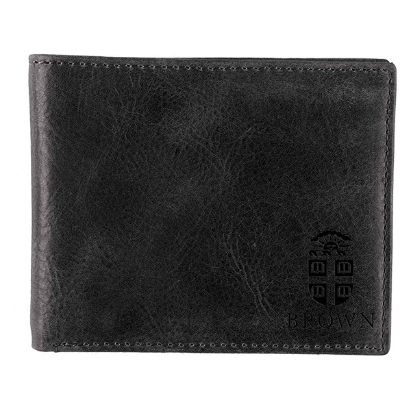 Cover Image For Leather Bifold Wallet w/Embossed Crest - Black