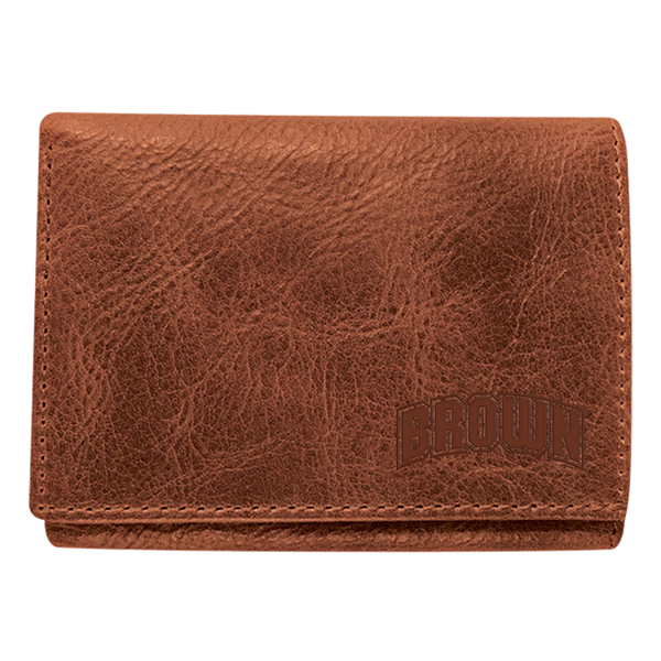 "Image For Leather Trifold Wallet w/Embossed ""Brown"" Arch - Tan"