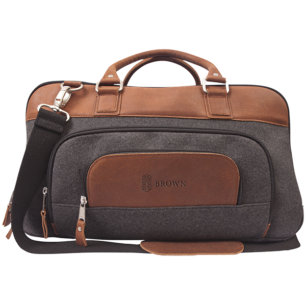Cover Image For Brody Grey Wool and Tan Leather Duffel Bag