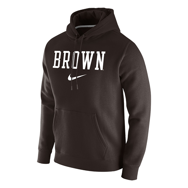 Image For Nike Men's Fleece Pullover Hoodie - Brown Swoosh