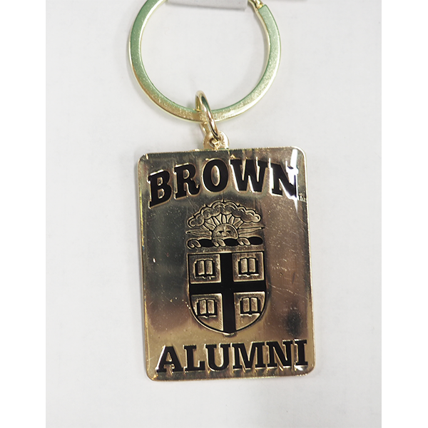 Image For Alumni Square Gold Keychain w/ Crest