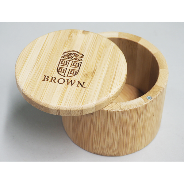 Image For Round Bamboo Salt Box Engraved