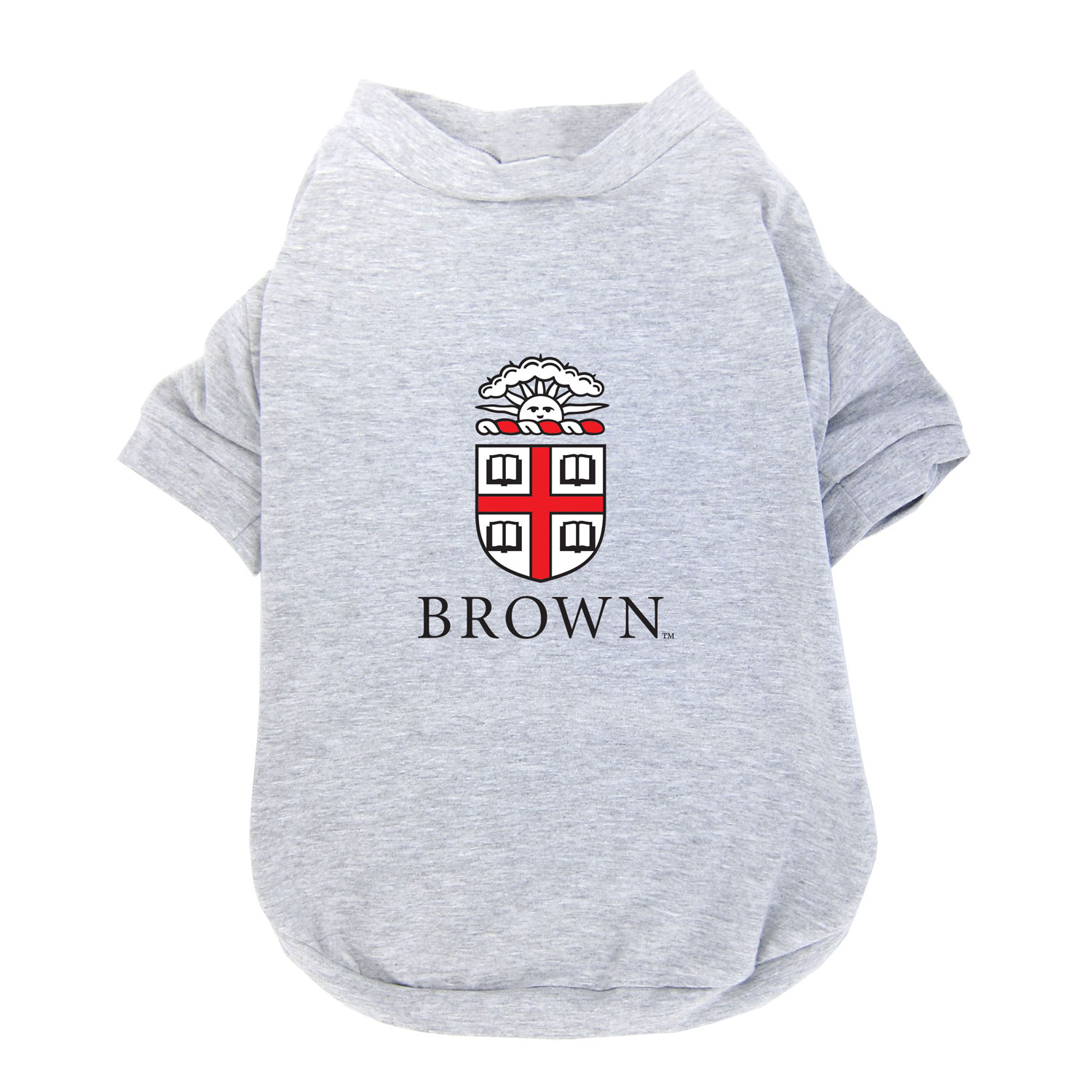 Image For Grey Pet T-shirt with Brown University crest