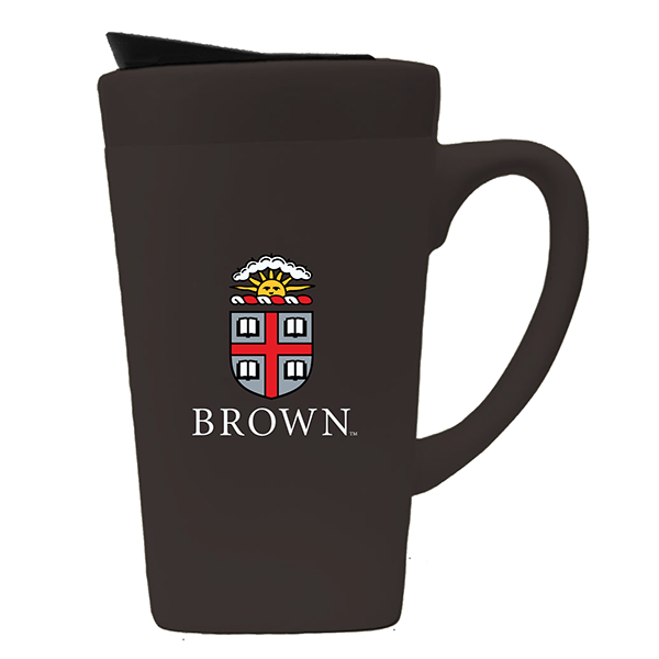 Image For 16oz Matte Brown Ceramic Travel Mug with lid