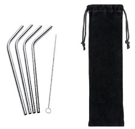 Image For Reusable Stainless Steel Metal Straw - 4 pack