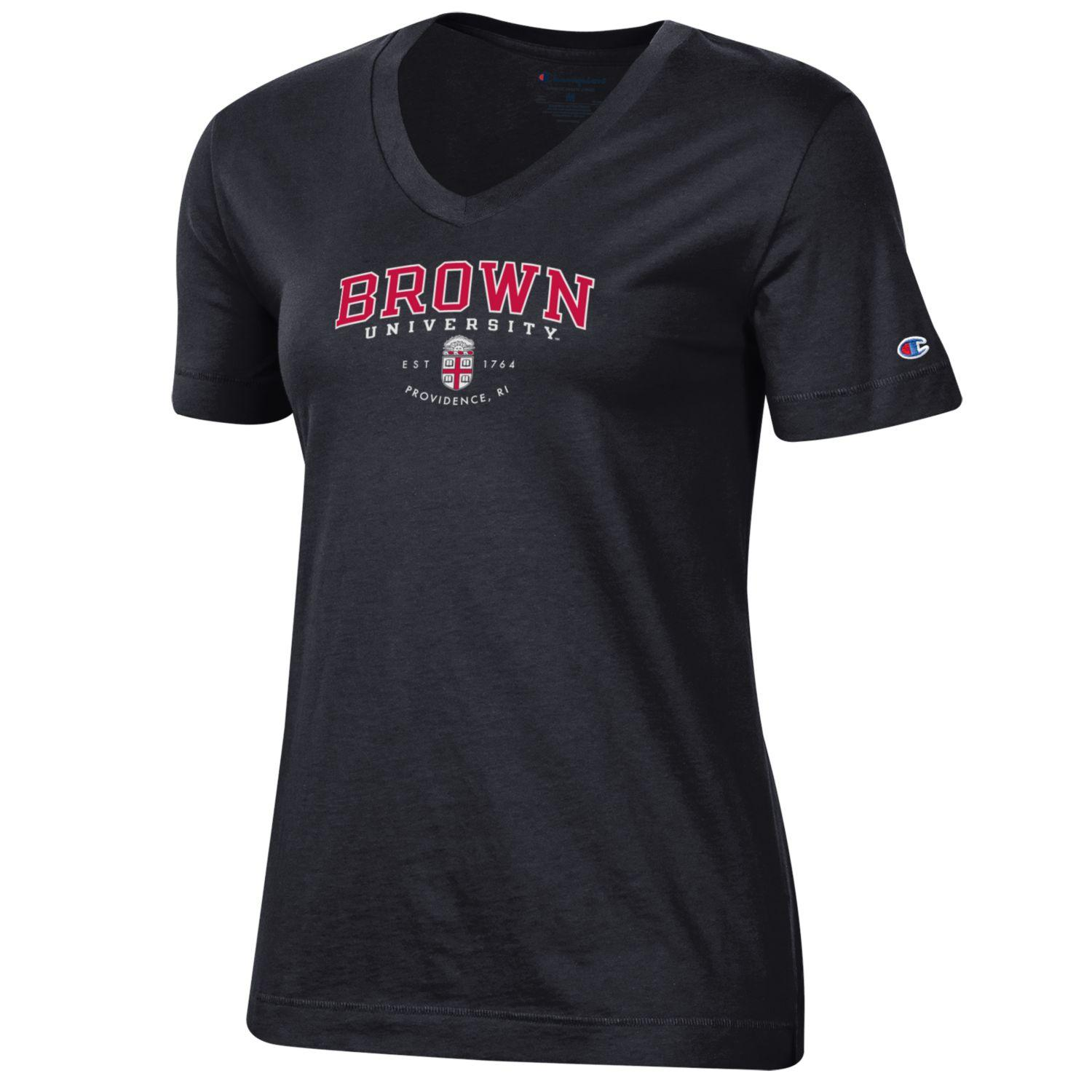 Image For Champion Womens University II Tee Black and Cardinal