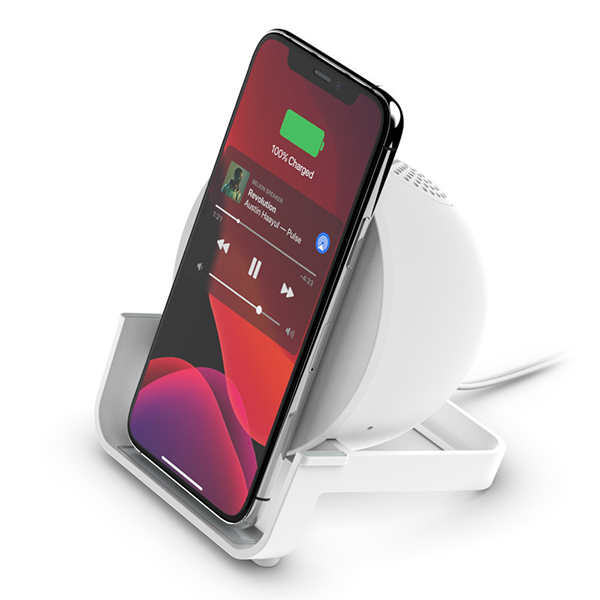Image For Belkin Wireless Charging Stand + Speaker - White