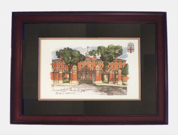 Image For Print - University Hall & Van Wickle Gate-Mahogany Frame
